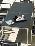 """Equinox rectangular dining table 59"""", brand new, discontinued stock - armchairs not included (stainless steel frame and slate grey HPL Top) - STK1075"""