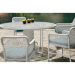 Special Deal: Save an additional $100! Woven Circular Dining Table 150cm (Driftwood Color and Glass Top) - STK9PU