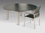 """Equinox circular dining table and lazy Susan  59"""", very good condition - armchair not included (stainless steel frame and dark grey HPL top) - TAG 150"""