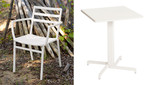 3-piece Piazza bistro set, brand new, discontinued stock (2 x armchairs and 1 x square table - arctic white frame) - TAG 1494