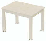 Pair of Cayman rectangular lounger low tables 42, brand new, discontinued stock (champagne frame and ivory ceramic top) - SET2CYLT.04.803