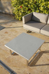 Pair of Mercury square low tables 76, brand new, discontinued stock - settee not included (stainless steel frame and ash ceramic top) - SET2MEL07.800