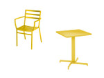 Piazza set - 4 x armchairs and one 1 x pedestal table 60, brand new, discontinued stock (yellow frame) - PISET1