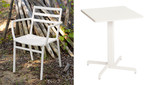 Piazza set - 4 x armchairs and 1 x pedestal table 60, brand new, discontinued stock (arctic white frame) - PISET4