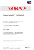 SMA Example Warranty Certificate