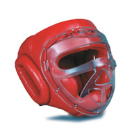 GTMA Vinyl Headgear w/ clear cage (Close Out in Red Color Only)