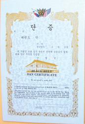 "TKD Black Belt Dan Certificate 10.5"" x 14.5"" (This item will be folded in half before shipping)"