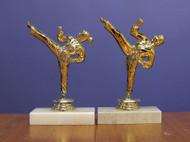 "7"" Mini Kicking Figurine Trophy with Stone Base"