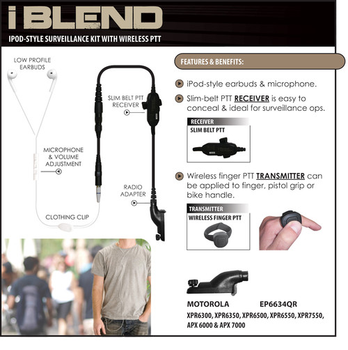 Blend in to any environment with the iBLEND iPod-style surveillance kit with slim belt PTT receiver and wireless finger PTT transmitter.