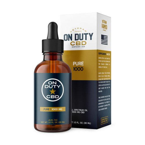 On Duty Pure 1000mg CBD Oil contains a full range of beneficial plant extracts, and less than 0.3% of THC.