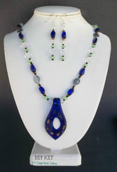 """Cobalt Glass """"Centered"""" Pendant Necklace Earring Jewelry Making Kit"""