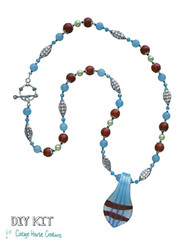 Spoon Glass Pendant ~ Sonja ~ Necklace Jewelry Bead Kit