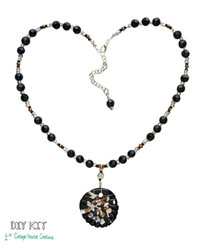 Sparkling... Glass Focal Elegant Beaded Necklace Bead Kit