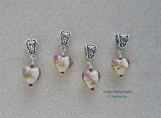 Lampworked Rose Hearts 4pc charm set