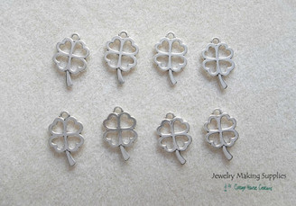 Silver 4 Leaf Lucky Charm Pendant Jewelry Making Supplies