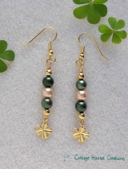 Gold Clovers 4 Leaf Shamrock Earring Bead Kit