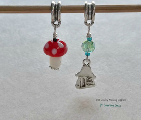 Toadstool Mushroom and Fairy House Large Hole European Bead Charm Dangles 2pc