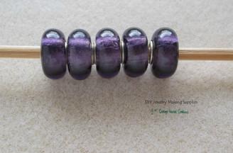 Purple on Silver Foil Lampwork European Big Hole Euro Bead