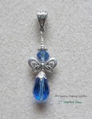 Sapphire Crystal Angel Teardrop Pendant Focal Charm