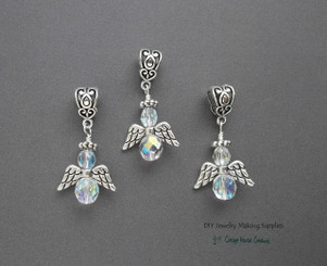 Guardian Angel Crystal Ab Czech Glass Beaded Large Hole Euro Charms