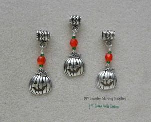Halloween Jack O Lantern Pumpkin Large Hole European Bead Dangle Charms 3pc
