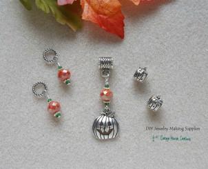 5pc Halloween Jack O' Lantern Charm Crystal Dangle European Bead Set