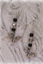 Flying Bat Vampire Halloween Beaded Earring Supplies Kit