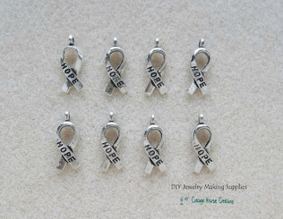 Hope Ribbon Awarness DIY Charms 8pc