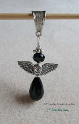 Black Angel Crystal Teardrop Pendant Goth Biker Mourning