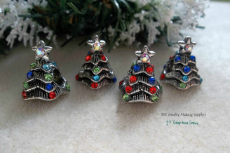 Christmas Tree Large Big Hole Beads Crystal Xmas Tree European Holiday Beads
