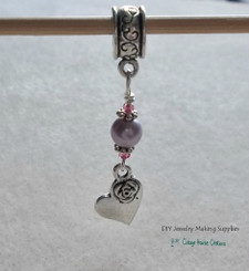 Lavender Rose Heart Beaded Charm Dangle for Bracelets