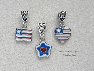European Dangle  Charm Patriotic July 4th Enameled Flag Heart Star