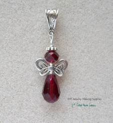 Ruby Crystal Angel Teardrop Pendant
