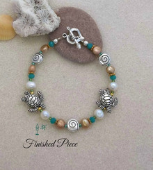 Bracelet Turtles Sea Shells Fresh Water Pearl Beaded Bracelet
