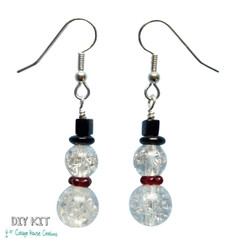 Beaded Snowman DIY Earring Supply Kit