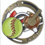 "2¾"" Softball Color Sport Medal"