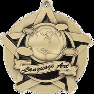 "2¼"" Language Arts Super Star Medal"