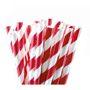 Paper Straws - Red / White Stripe