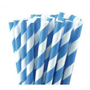Paper Straws - Blue / White Stripe