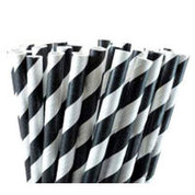 Paper Straws - Black / White Stripe
