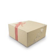 "10"" Brown Printed Cake Box HD - Red"