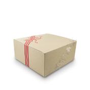 """10"""" Brown Printed Cake Box HD - Red"""
