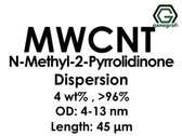 Çok Duvarlı Karbon Nanotüp N-Metil-2-Pirolidinon Dispersiyon (4%ağ, >96+%, Dış Çap: 4-13 nm, Boy 45um)