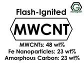 Çok Duvarlı Karbon Nanotüp - Flash-Ignited (ÇDKNT'ler 48%ağ, Fe Nanopartikül 23%ağ, Amorf Carbon 23%ağ)