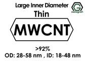 Geniş İç Çaplı İnce Çok Duvarlı Karbon Nanotüp, Saflık: >92%, Dış Çap: 28-58nm, ID: 18-48nm