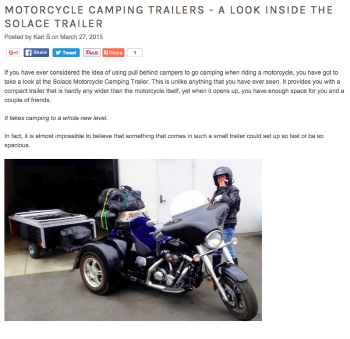 Look Inside the Solace Motorcycle Camper Trailer