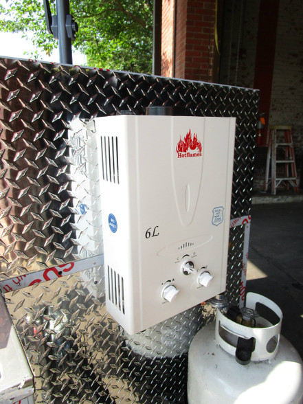 Water heater upgrade for Cash Calf Hot Dog Cart