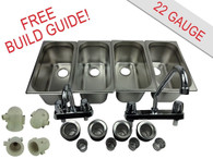 4 Compartment Concession Sink Set With Traps & Hand Washing