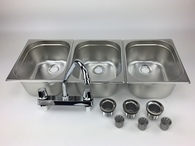 Concession Sink Portable 3 Compartment Stand Food Truck Trailer 3L w/Faucet