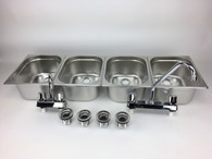 Concession Sink 4 Compartment Portable Food Truck Trailer 4 Large w/Faucets